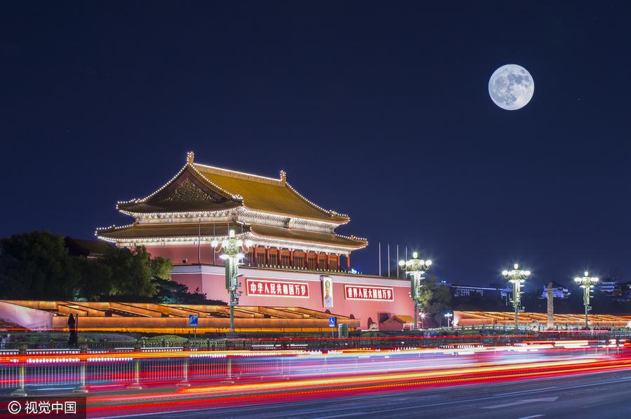 """美图:从北京四环到芝加哥市中心 你想要的""""超级月亮""""都在这里[1]- 中国日报网"""