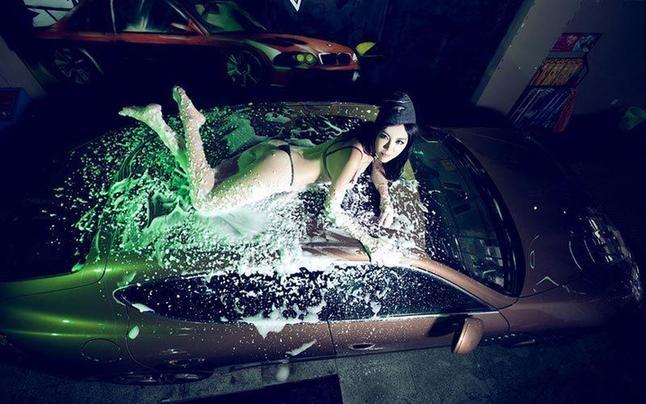 波斗门刚小希洗车展示女洗车胸部化身少妇潮绝技性感嗨图片