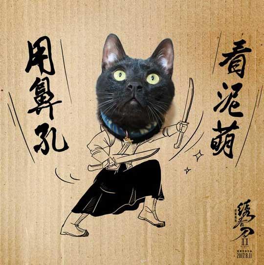 《绣春刀修罗表情》战场网红演绎贱萌黑猫骑锦衣包摩动态图qq