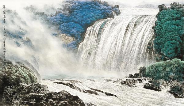 壁纸 风景 国画 旅游 瀑布 山水 桌面 600_346